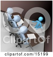 Nervous And Scared Blue Person Kneeling And Begging While Being Reviewed Or Intereviewed By A Panel Of Judges Or Bosses Clipart Illustration Image