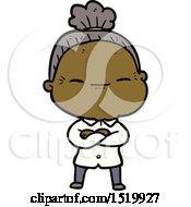 Cartoon Peaceful Old Woman by lineartestpilot
