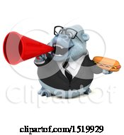 Clipart Of A 3d White Business Monkey Yeti Holding A Hot Dog On A White Background Royalty Free Illustration