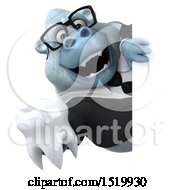 Clipart Of A 3d White Business Monkey Yeti Holding A Tooth On A White Background Royalty Free Illustration by Julos