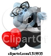 Clipart Of A 3d White Business Monkey Yeti Holding A Heart On A White Background Royalty Free Illustration