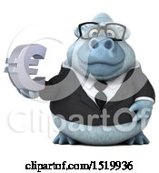 Clipart Of A 3d White Business Monkey Yeti Holding A Euro On A White Background Royalty Free Illustration