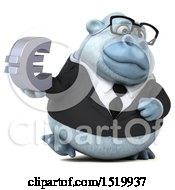 Clipart Of A 3d White Business Monkey Yeti Holding A Euro On A White Background Royalty Free Illustration by Julos