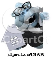 Clipart Of A 3d White Business Monkey Yeti Holding A House On A White Background Royalty Free Illustration