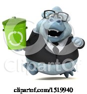 Clipart Of A 3d White Business Monkey Yeti Holding A Recycle Bin On A White Background Royalty Free Illustration by Julos