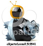 Clipart Of A 3d White Business Monkey Yeti Holding A Tv On A White Background Royalty Free Illustration by Julos