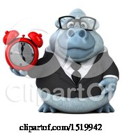 Clipart Of A 3d White Business Monkey Yeti Holding An Alarm Clock On A White Background Royalty Free Illustration by Julos