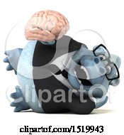 Clipart Of A 3d White Business Monkey Yeti Holding A Brain On A White Background Royalty Free Illustration