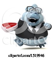 Poster, Art Print Of 3d White Business Monkey Yeti Holding A Steak On A White Background
