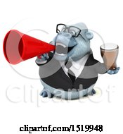 Clipart Of A 3d White Business Monkey Yeti Holding A Beer On A White Background Royalty Free Illustration