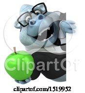 Clipart Of A 3d White Business Monkey Yeti Holding An Apple On A White Background Royalty Free Illustration