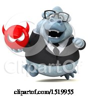 Clipart Of A 3d White Business Monkey Yeti Holding A Devil On A White Background Royalty Free Illustration