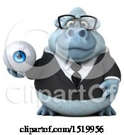 Clipart Of A 3d White Business Monkey Yeti Holding An Eyeball On A White Background Royalty Free Illustration
