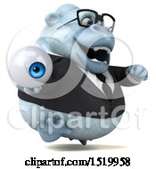 Clipart Of A 3d White Business Monkey Yeti Holding An Eyeball On A White Background Royalty Free Illustration by Julos