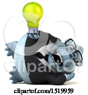 Clipart Of A 3d White Business Monkey Yeti Holding A Light Bulb On A White Background Royalty Free Illustration