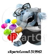 Poster, Art Print Of 3d White Business Monkey Yeti Holding Messages On A White Background