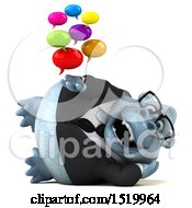 Clipart Of A 3d White Business Monkey Yeti Holding Messages On A White Background Royalty Free Illustration