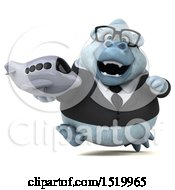 Clipart Of A 3d White Business Monkey Yeti Holding A Plane On A White Background Royalty Free Illustration by Julos