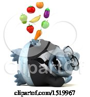 Clipart Of A 3d White Business Monkey Yeti Holding Produce On A White Background Royalty Free Illustration