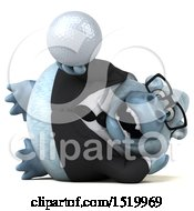 Clipart Of A 3d White Business Monkey Yeti Holding A Golf Ball On A White Background Royalty Free Illustration