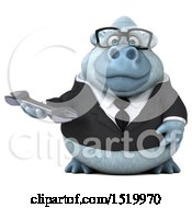 Clipart Of A 3d White Business Monkey Yeti Holding A Wrench On A White Background Royalty Free Illustration by Julos