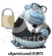 Clipart Of A 3d White Business Monkey Yeti Holding A Padlock On A White Background Royalty Free Illustration