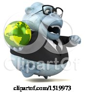 Clipart Of A 3d White Business Monkey Yeti Holding A Globe On A White Background Royalty Free Illustration