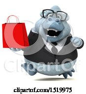 Clipart Of A 3d White Business Monkey Yeti Holding A Shopping Bag On A White Background Royalty Free Illustration by Julos