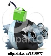 Clipart Of A 3d White Business Monkey Yeti Holding A Gas Can On A White Background Royalty Free Illustration