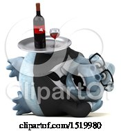 Clipart Of A 3d White Business Monkey Yeti Holding Wine On A White Background Royalty Free Illustration by Julos