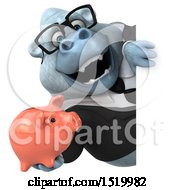 Clipart Of A 3d White Business Monkey Yeti Holding A Piggy Bank On A White Background Royalty Free Illustration