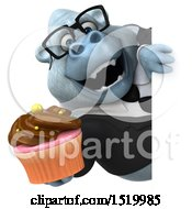 Clipart Of A 3d White Business Monkey Yeti Holding A Cupcake On A White Background Royalty Free Illustration
