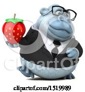 Clipart Of A 3d White Business Monkey Yeti Holding A Strawberry On A White Background Royalty Free Illustration by Julos