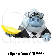 Clipart Of A 3d White Business Monkey Yeti Holding A Banana On A White Background Royalty Free Illustration by Julos