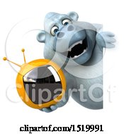 Clipart Of A 3d White Monkey Yeti Holding A Tv On A White Background Royalty Free Illustration by Julos