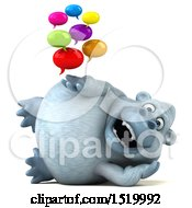 Clipart Of A 3d White Monkey Yeti Holding Messages On A White Background Royalty Free Illustration by Julos