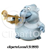 Clipart Of A 3d White Monkey Yeti Playing A Trumpet On A White Background Royalty Free Illustration by Julos