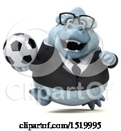 Clipart Of A 3d White Business Monkey Yeti Holding A Soccer Ball On A White Background Royalty Free Illustration by Julos