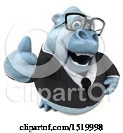 Clipart Of A 3d White Business Monkey Yeti Holding A Thumb Up On A White Background Royalty Free Illustration by Julos