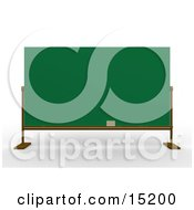 Eraser Resting On The Bottom Of A Blank Green Chalkboard In A School Class Room Clipart Illustration Image