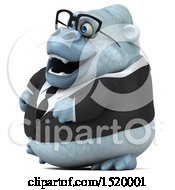 Clipart Of A 3d White Business Monkey Yeti On A White Background Royalty Free Illustration by Julos