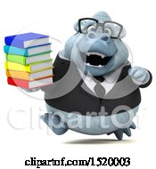Clipart Of A 3d White Business Monkey Yeti Holding Books On A White Background Royalty Free Illustration by Julos