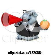 Clipart Of A 3d White Business Monkey Yeti Holding An Orange On A White Background Royalty Free Illustration by Julos
