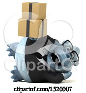 Clipart Of A 3d White Business Monkey Yeti Holding Boxes On A White Background Royalty Free Illustration