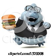 Clipart Of A 3d White Business Monkey Yeti Holding A Burger On A White Background Royalty Free Illustration by Julos