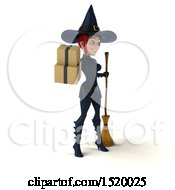 Clipart Of A 3d Sexy Blue Witch Holding Boxes On A White Background Royalty Free Illustration