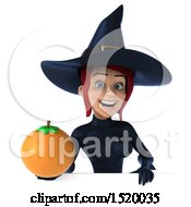 Clipart Of A 3d Sexy Blue Witch Holding An Orange On A White Background Royalty Free Illustration
