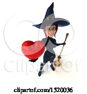 Clipart Of A 3d Sexy Blue Witch Holding A Heart On A White Background Royalty Free Illustration