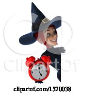 Clipart Of A 3d Sexy Blue Witch Holding A Clock On A White Background Royalty Free Illustration