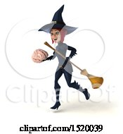 Clipart Of A 3d Sexy Blue Witch Holding A Brain On A White Background Royalty Free Illustration